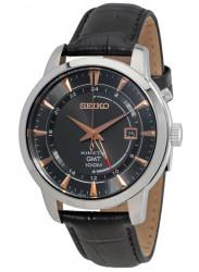 Seiko Men's Kinetic Quartz Stainless Steel Black Leather Watch SUN063