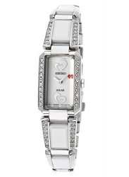 Seiko Women's Solar White Dial White Ceramic Stainless Steel Watch SUP185