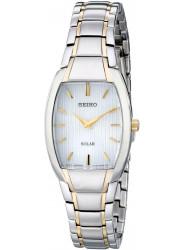 Seiko Women's Solar Two Tone White Dial Watch SUP260
