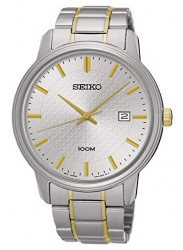 Seiko Men's Stainless Steel Two-Tone Bracelet Band Silver Dial Watch SUR197