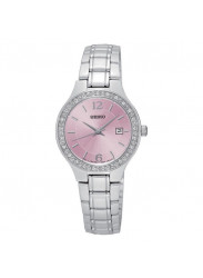 Seiko Women's Pink Dial Crystals Watch SUR787