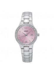Seiko Women's Pink Dial Crystals Watch SUR787