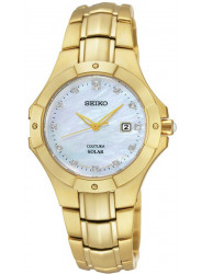 Seiko Women's Solar Mother of Pearl Gold Tone Diamond Watch SUT168