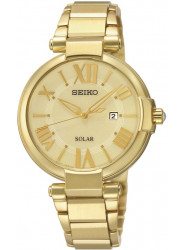 Seiko Women's Solar Champagne Dial Gold Tone Watch SUT176