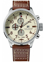 Tommy Hilfiger Men's Beige Dial Brown Leather Watch 1790684
