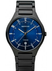 Bering Men's Blue Sunray Dial Black Titanium Watch 11739-727
