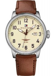 Tommy Hilfiger Men's Jasper Beige Dial Brown Leather Watch 1791315