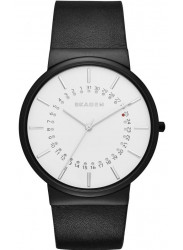 Skagen Men's Ancher White Dial Black Leather Watch SKW6243