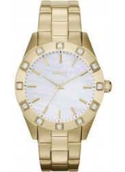 DKNY Women's White Mother Of Pearl Dial Gold Tone Watch NY8661