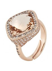 Ring with crystal briolette peach and pav