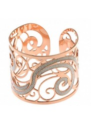 Rigid bracelet in bronze plated pink gold and glitterate surfaces