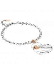 Double Wire Bracelet with a Heart Shaped Pendant Decorated in Zircons