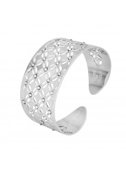 Bracelet to wide band with decoration in relief and Swarovski