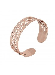 Bracelet band gold plated pink with decoration in relief and Swarovski