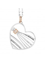 Necklace with a pendant in the shape of a heart and zircons
