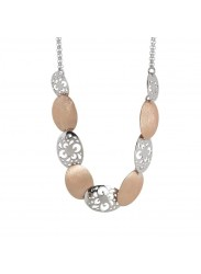 Necklace bicolor with breastplate by perforated oval and scratched