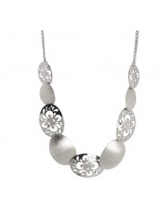 Short necklace rhodium plated with oval scratched and pierced