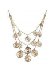 Multi-Strand necklace Plated Yellow Gold Pendant with concentric and Swarovski
