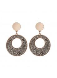 Rose Earrings Pendant with Swarovski crystal rock
