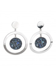 Concentric earrings with Swarovski surface galuchat moonlight