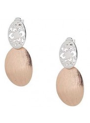 Earrings with double perforated oval and scratched