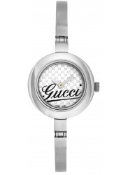 Gucci Women's GMT White Dial Hinged Stainless Steel Watch YA105528