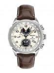 Seiko Prospex Solar World Time Men's Cream Dial Brown Leather Watch SSC509
