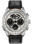 Citizen Men's Eco- Drive Chronograph Silver Dial Black Leather Strap Watch AV0060-00A
