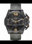 Diesel Men's Ironside Chronograph Black Leather Watch DZ4386