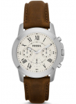 Fossil Men's Grant Chronograph Brown Leather Watch FS4839