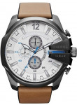 Diesel Men's Mega Chief Chronograph White Dial Brown Leather Watch DZ4280