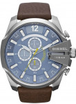 Diesel Men's Mega Chief Chronograph Blue Dial Brown Leather Watch DZ4281