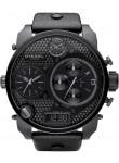 Diesel Men's Chronograph Black Dial Black Leather Watch DZ7193