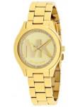 Michael Kors Women's Slim Runway Gold Tone MK Logo Watch MK3477