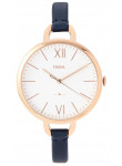 Fossil Women's Annette Silver Dial Navy Leather Watch ES4355