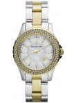 Michael Kors Women's Madison White Dial Crystal Two-tone Watch MK5584