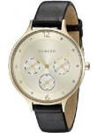 Skagen Women's Anita Black Leather Gold Tone Dial Watch SKW2393