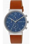 Skagen Men's Ancher Blue Dial Brown Leather Watch SKW6358