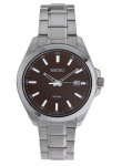 Seiko Men's Silver Stainless Steel Band Marron Dial Watch SUR069