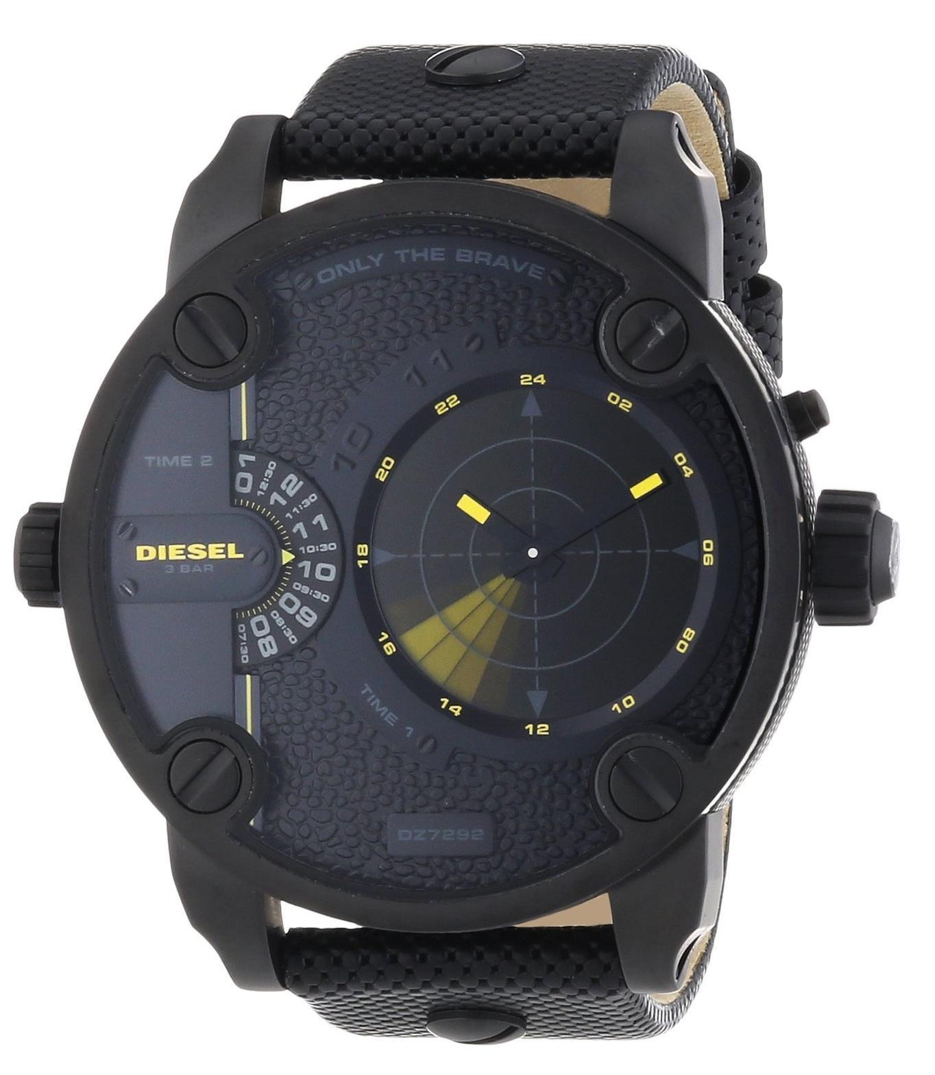 4a8d65d10d3 Diesel Men s Daddy GMT Black Leather Watch DZ7292
